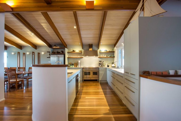 Timber highlight kitchen by DRK Kitchens
